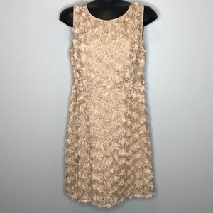 Pink Martini nude textured 3D floral dress M